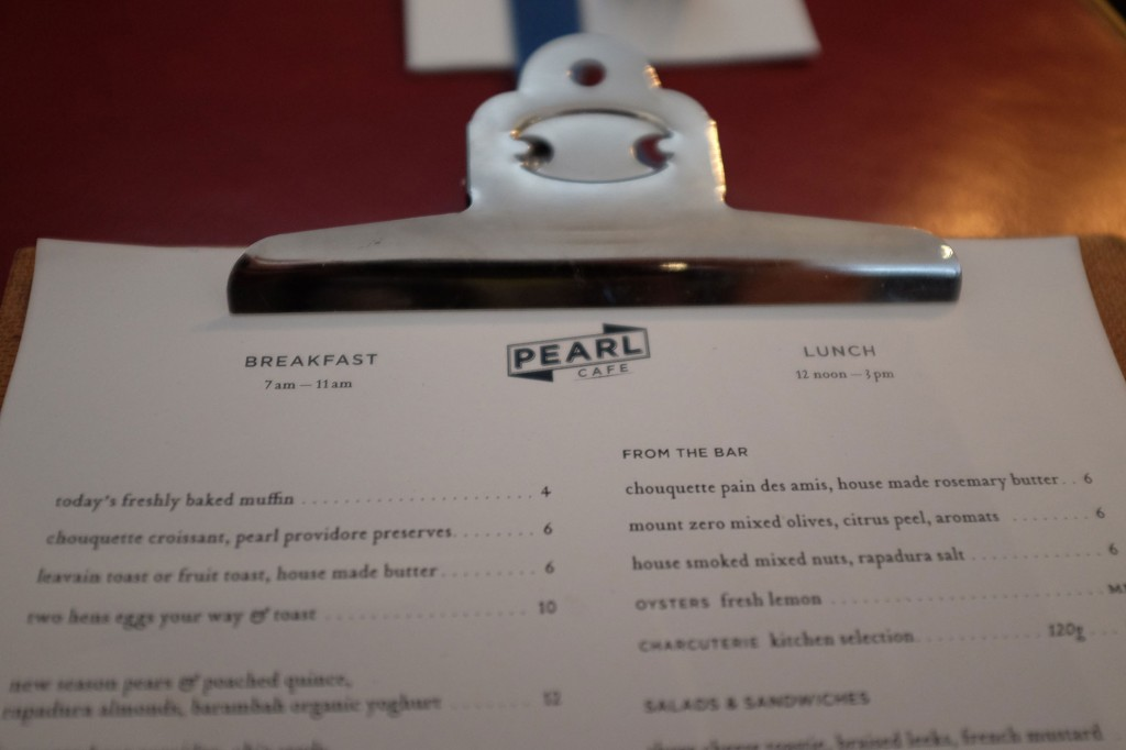 Pearl Cafe menu